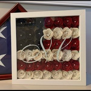Other - American Flag inspired flower shadow box